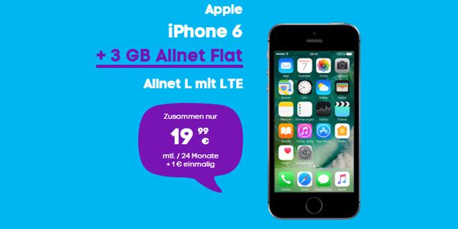 iPhone 6 mit 3 GB LTE und Allnet nur 19,99€ mtl.