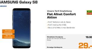 Galaxy S8 mit Allnet und 1 GB Internet nur 19,99€ mtl.
