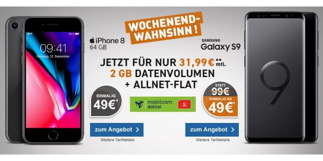 Galaxy S9 mit 2 GB Internet und Allnet nur 31,99€ mtl.