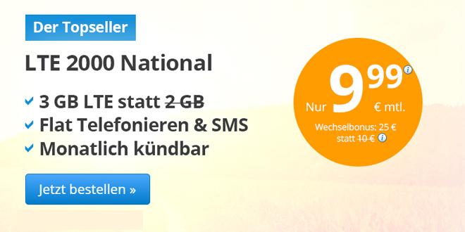 3 GB LTE mit Allnet Flat und monatlich kündbar nur 9,99€ mtl.