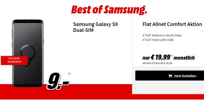 Galaxy S9 mit Allnet und 1 GB Internet nur 19,99€ mtl.