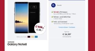 Galaxy NOTE 8 mit 20 GB LTE Allnet nur 34,99€ mtl.