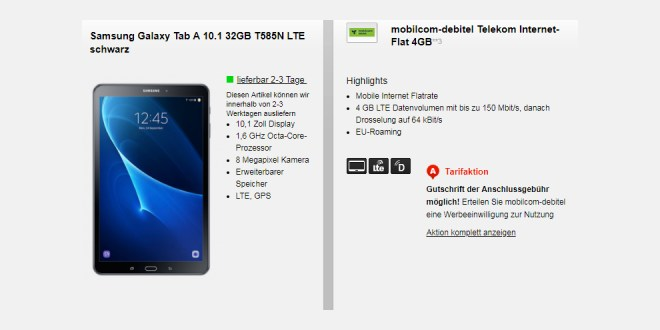 Telekom 4GB LTE mit Tab nur 9,99€