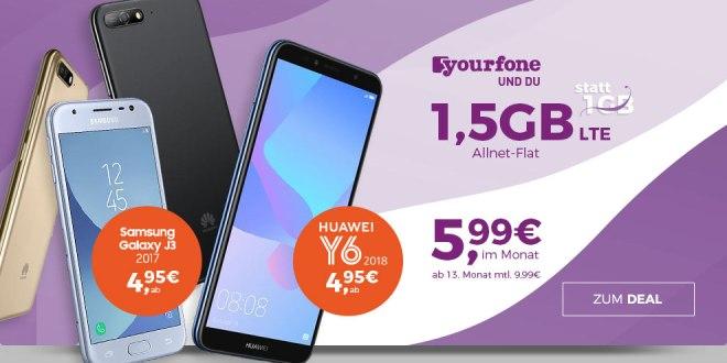 Galaxy J3 mit 1,5 GB LTE ab 5,99€ mtl.