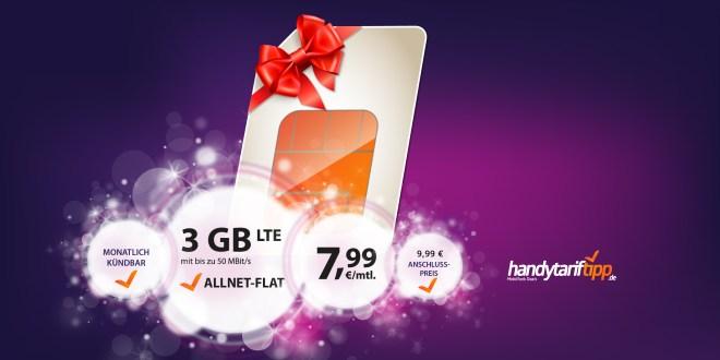 3 GB LTE + Allnet und monatlich kündbar nur 7,99€ mtl.