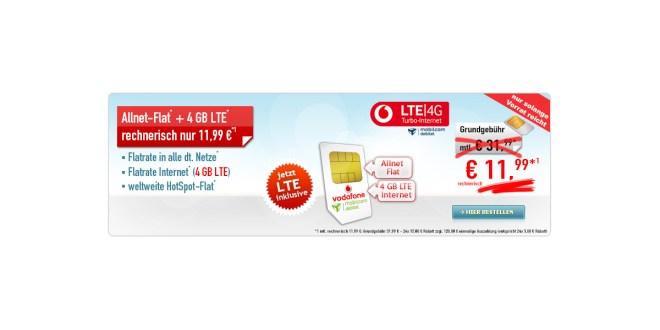 Allnet-Flat + 4 GB LTE Vodafone 11,99€
