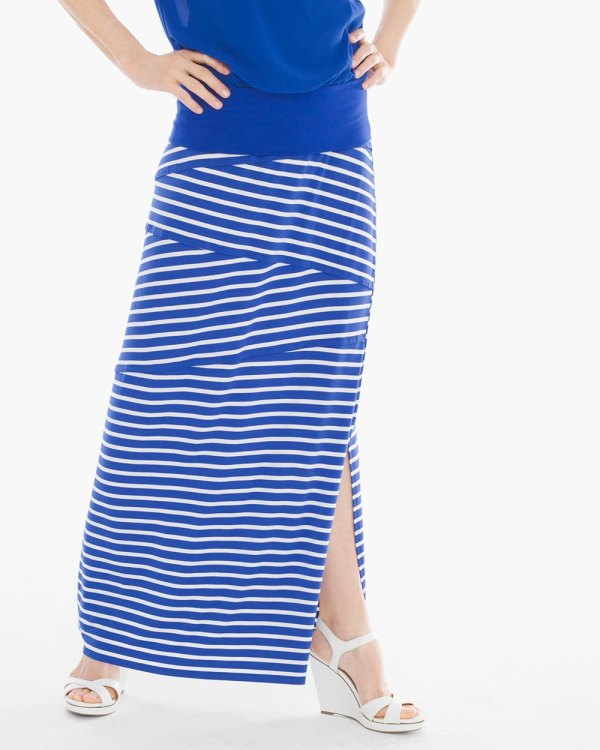 Tinley Blue And White Striped Maxi Skirt - Haneen
