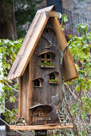 Bird's and insect houses at a garden exhibition