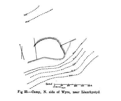 Cynllun safle Gwersyll Gogledd ochr Wyre ger Llanrhystud
