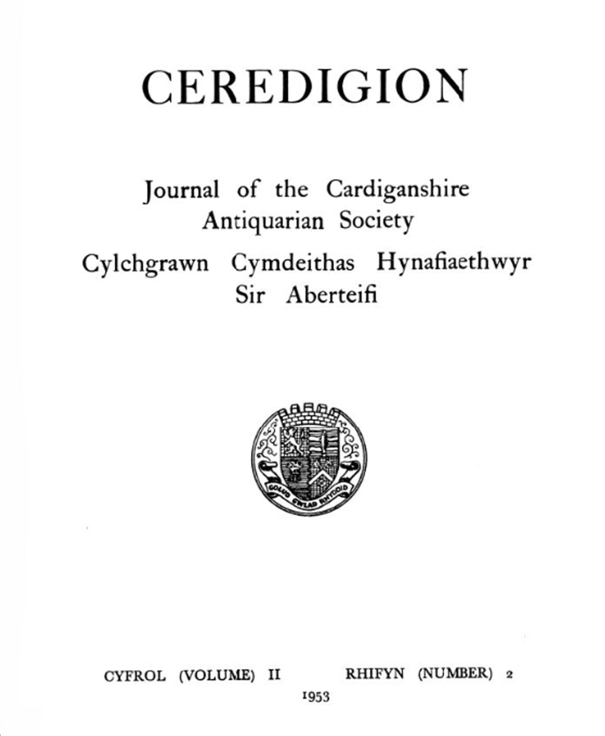 Journal of the Cardiganshire Antiquarian Society Vol II No 2 1953
