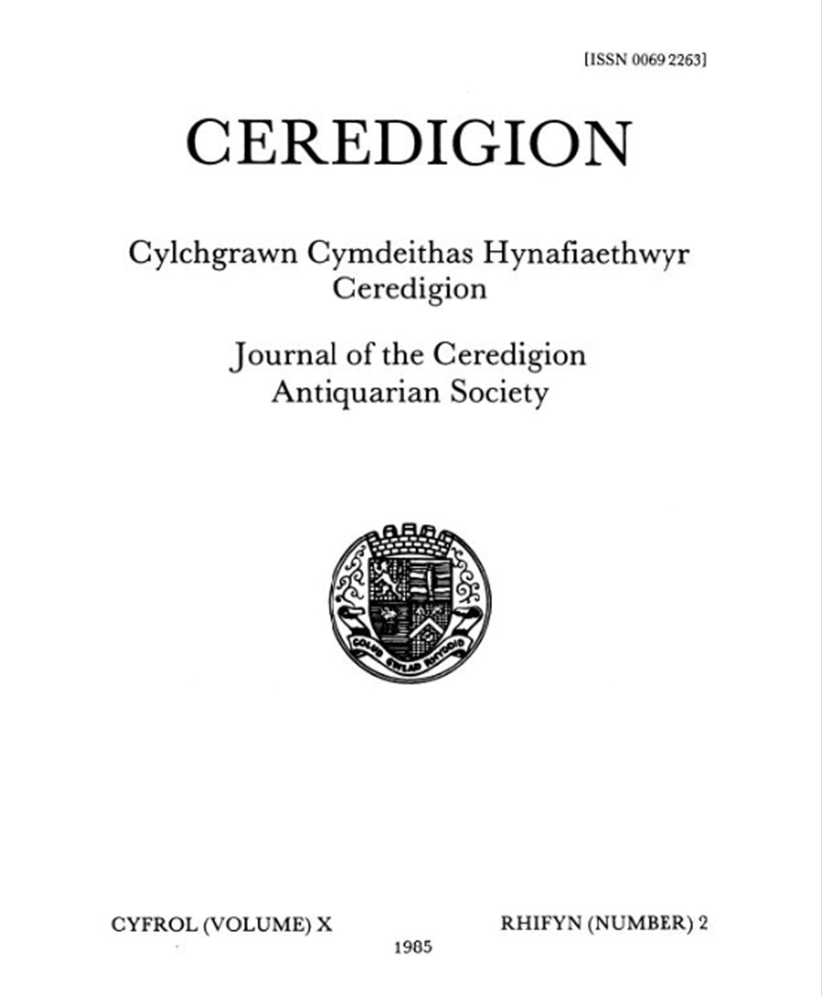 Ceredigion – Journal of the Cardiganshire Antiquarian Society, 1985 Vol X No 2