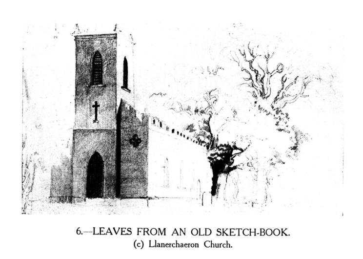 Dail o hen lyfr braslunio - Eglwys Llanerchaeron