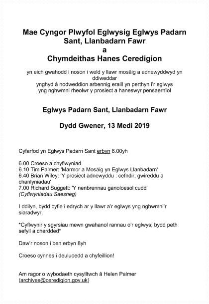 Mae Cyngor Plwyfol Eglwysig Eglwys Padarn Sant, Llanbadarn Fawr a Chymdeithas Hanes Ceredigion