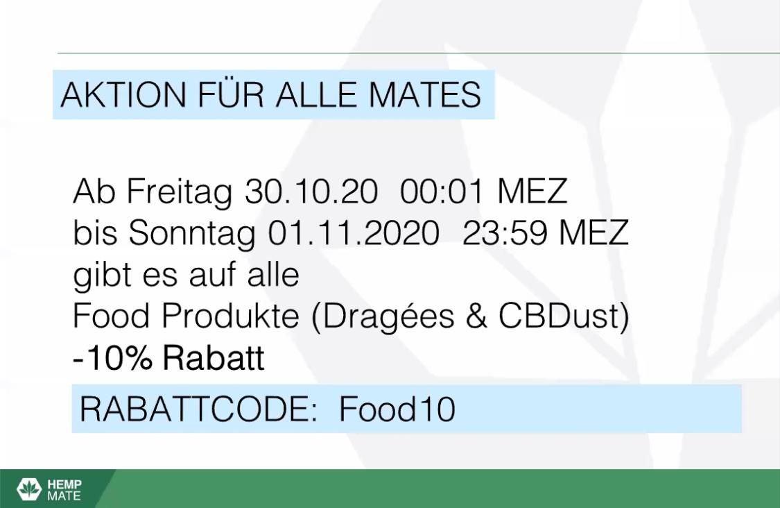 Ab Freitag, 30.10.2020 gibt es für mates 10% auf Food-Produkte, bis zum 01.11.2020
