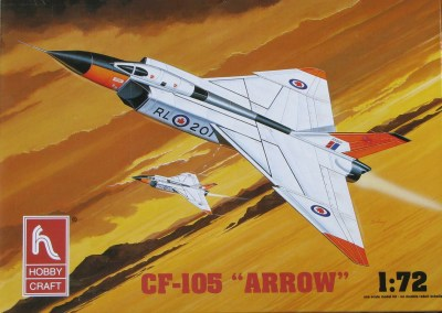 In a more recent release (but still not the 2012 re-issue) of the Arrow, Hobbycraft introduced more dramatic box art featuring the CF-105 in its alternate orange-red on white paint scheme. In addition to new art, the kit box is far more rugged.