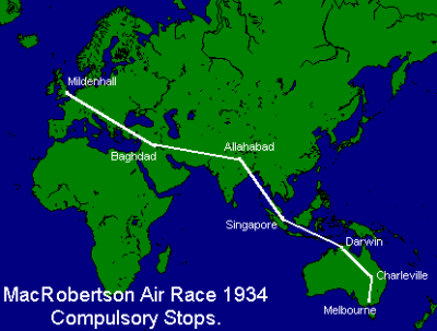 The course of the 1934 MacRobertson Air Race, running from an RAF base in Mildenhall, East Anglia in England to Flemington Racecourse, Melbourne, Australia -- covering an unprecedented 11,300 miles.