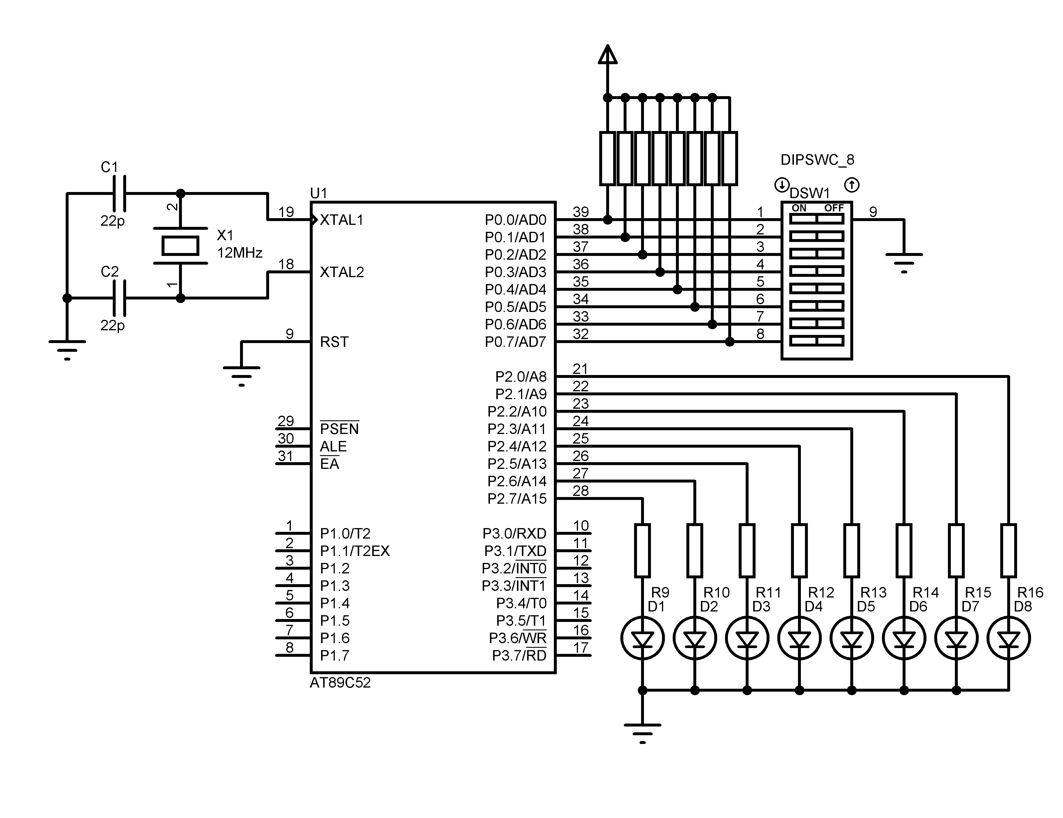 small resolution of 8051 i o port programming using keil c with at89s52 simulation on crystal oscillator diagram for at89s52