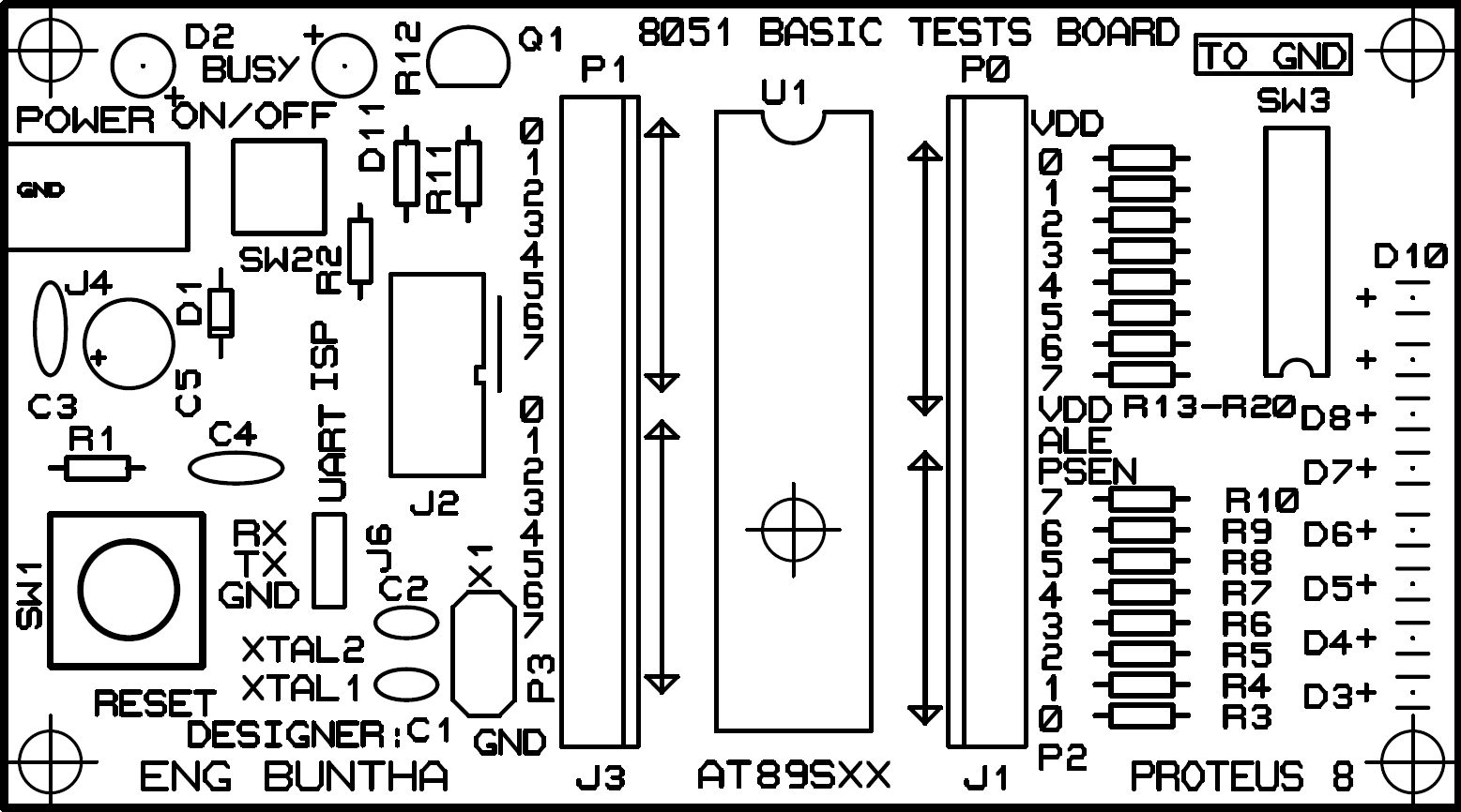 Making a 8051 basic test board using AT89S52