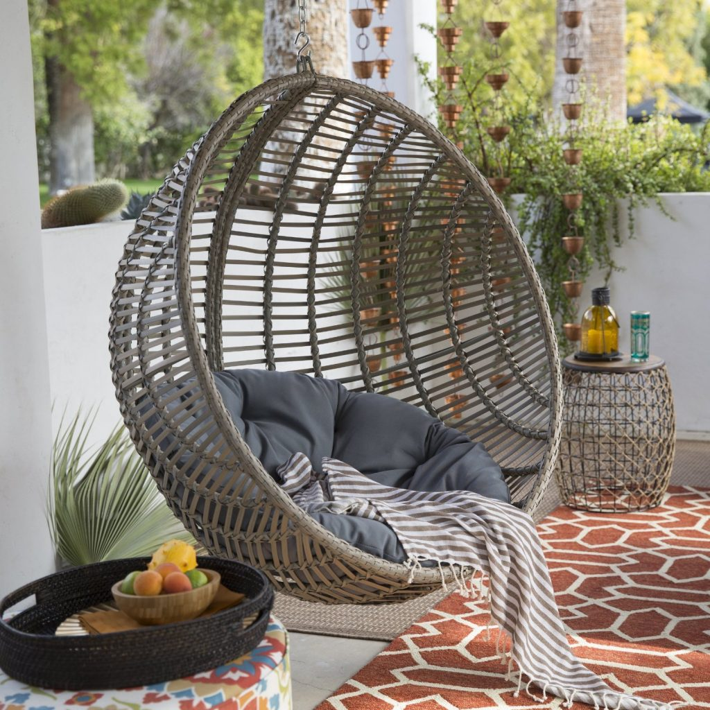 Outdoor Hanging Egg Chair Review Wicker Hanging Chair With Stand By Island Bay