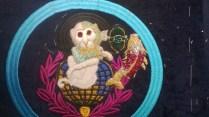 Goldwork monkey and koi carp sample for Mary Katrantzou