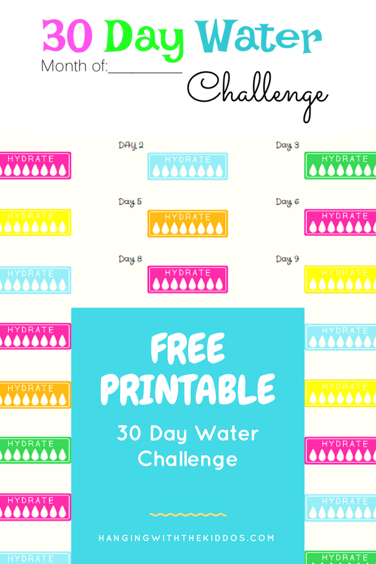 Free Printable Water Tracker 30 Day Water Challenge