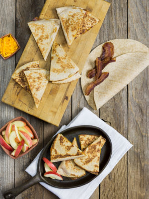 Quick Dinner-Bacon, Apple & Cheddar Quesadillas