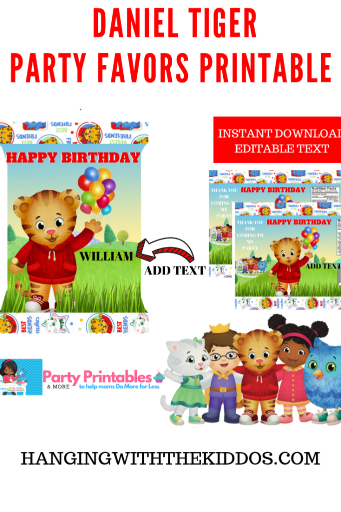 Daniel Tiger Party Favors – Party Printable Treat Bags – Chip Bag Template
