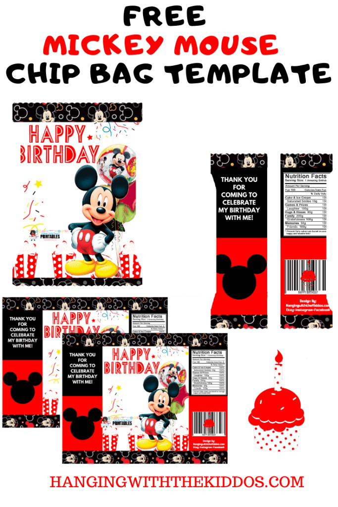 Free Mickey Mouse Party Favor Chip Bag Template Printable