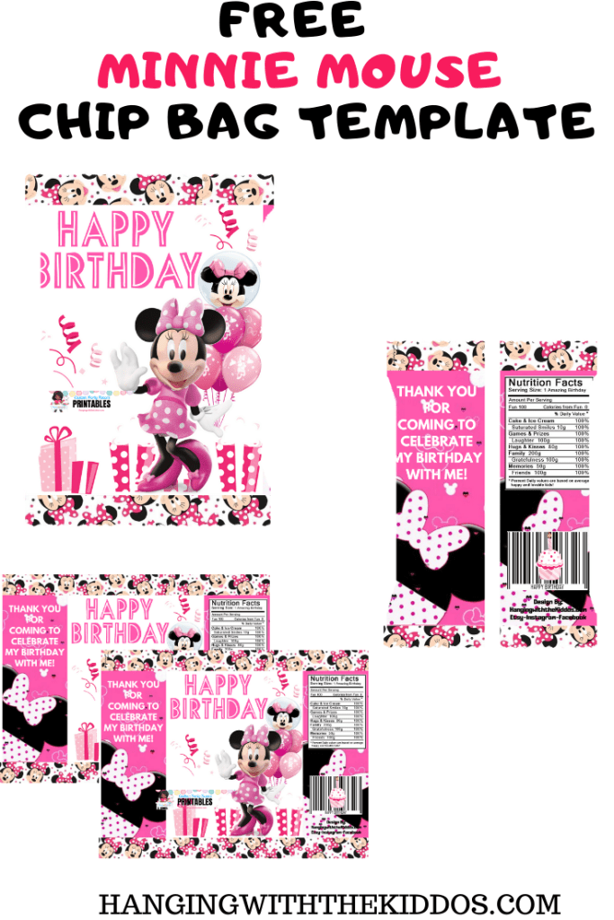 Free Minnie Mouse Party Favor Chip Bag Template Printable