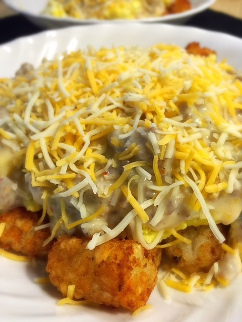 Tater Tot Breakfast Bowl with Sausage Gravy
