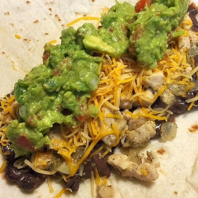 Black Bean Lime Chicken Guacamole Burritos