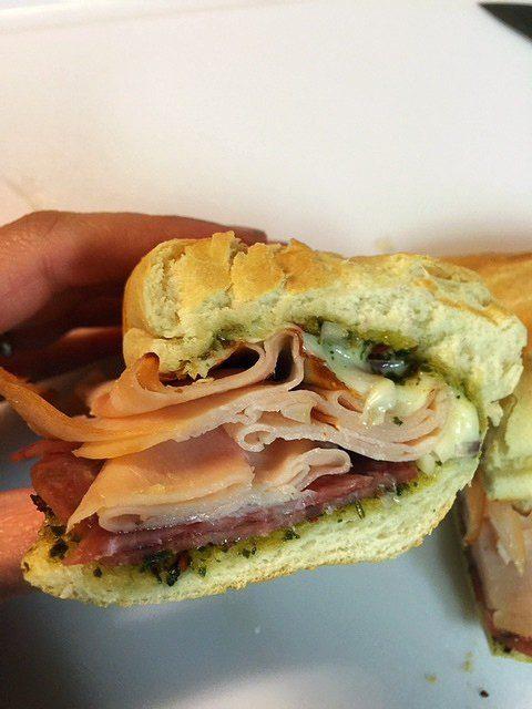 Hot Turkey Salami Sandwich with Pesto and Mozzarella