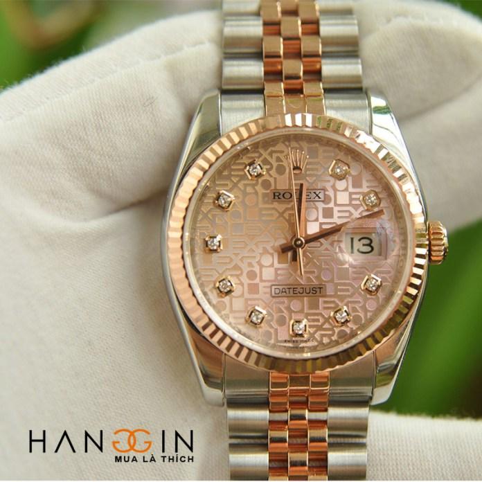 Đồng hồ Nam Rolex Datejust 116231 mặt vi tính hồng demi vàng hồng đúc 18k New 98% Fullbox 2016