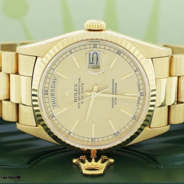 Rolex Day-Date President 18k Gold Double Quick Set Silver Stick