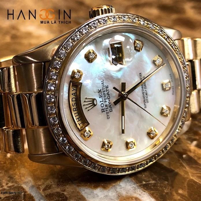 Rolex President Day Date 18038 Mop Diamond Dial & Bezel 18k Yellow Gold - 3
