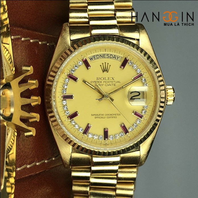 Rolex YG Day Date 18038 Factory Diamond and Ruby String Dial