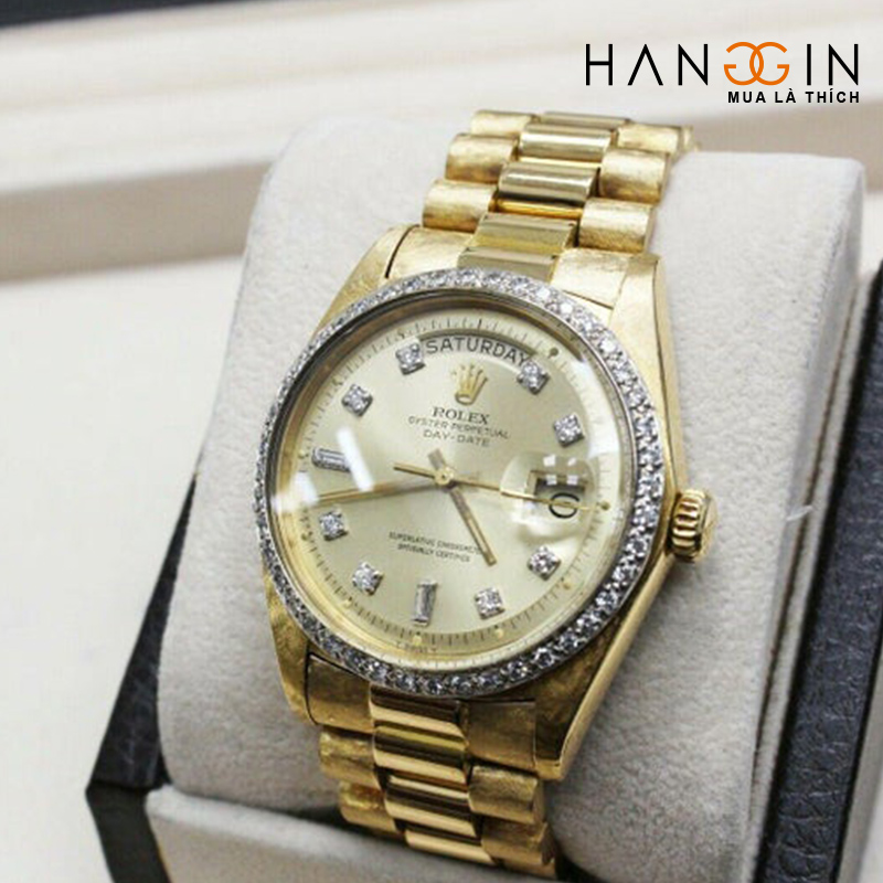 Rolex President Day Date 1803 Diamond Dial Bezel 18k Yellow Gold Florentine - 4