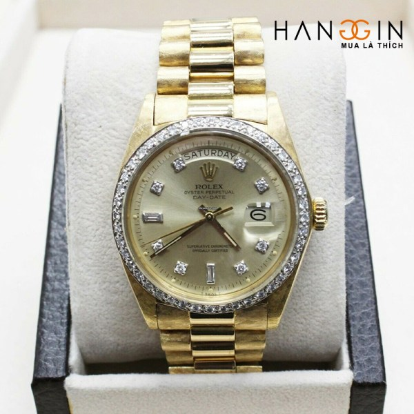 Rolex President Day Date 1803 Diamond Dial Bezel 18k Yellow Gold Florentine