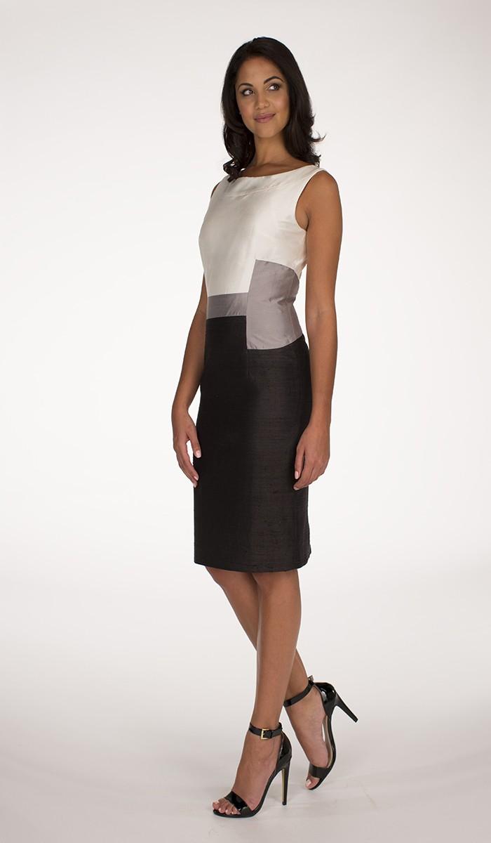 Ivory and Black Sleeveless Hanieh Dress  Hanieh Fashion