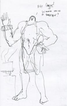 Buff guy with small head that is having a barbeque.
