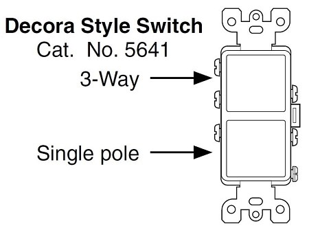 Leviton Decora Combination Stacked Single Pole / 3-Way Switch