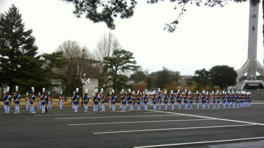 Cadets formed up for a high-ranking general's visit.