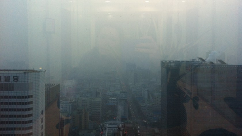 View from a Seoul office tower on a bad air day, 2014