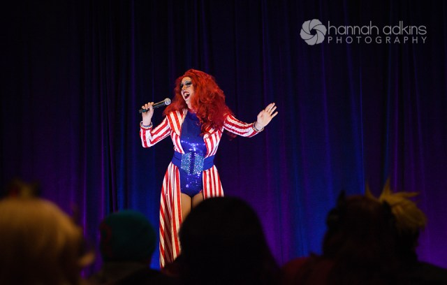 Oriana Perón host of the Cosplay Fashion Show & Drag Race