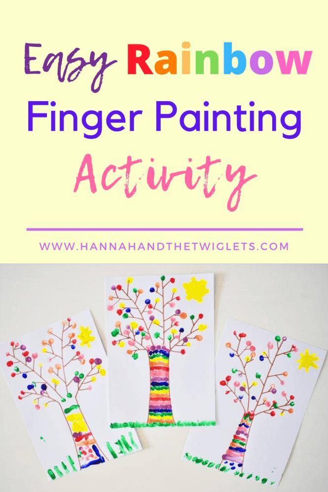 rainbow finger paint tree craft