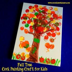autumn tree cork stamping craft