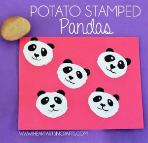 potato stamped pandas activity for kids