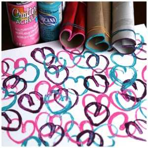 toilet roll hearts  craft stamping activity