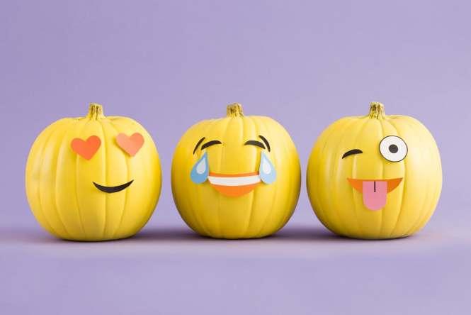 Emoji pumpkins no-carve pumpkin ideas