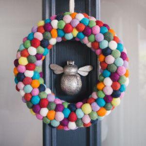 rainbow felt wreath Christmas decorations